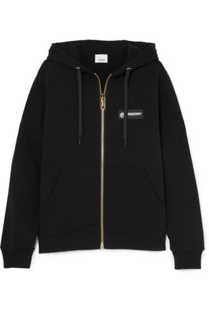 Burberry - Paneled Checked Cotton-canvas And Loopback Cotton-jersey Hoodie - Black