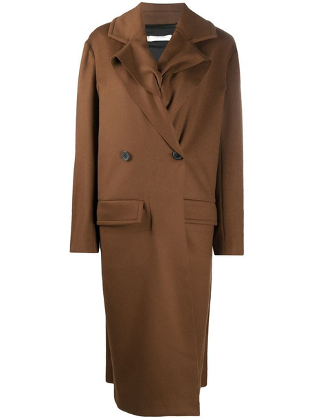Litkovskaya ruched double-breasted coat in brown