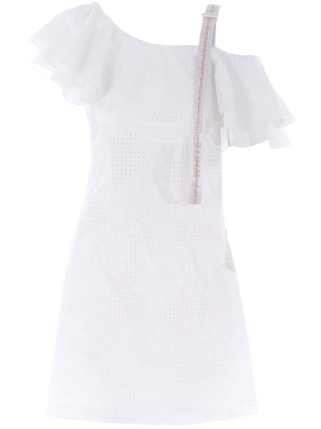 Off-white One-shoulder Dress in bianco