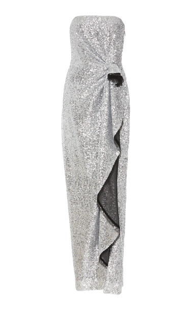 Prabal Gurung Exclusive Strapless Draped Sequined Gown Size: 8 in silver