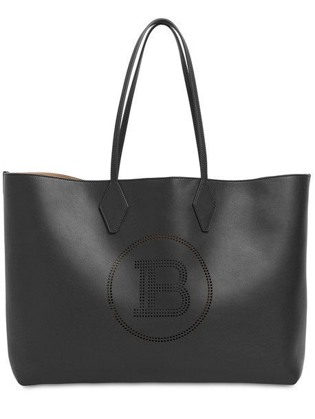BALMAIN Logo Leather Tote in black