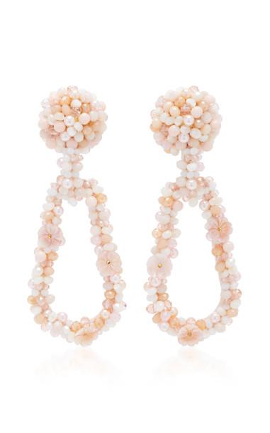 Bibi Marini Bouquet Bead, Faux Pearl And Silk Earrings in pink