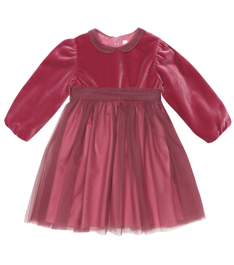 Il Gufo Baby tulle-trimmed velvet dress in pink