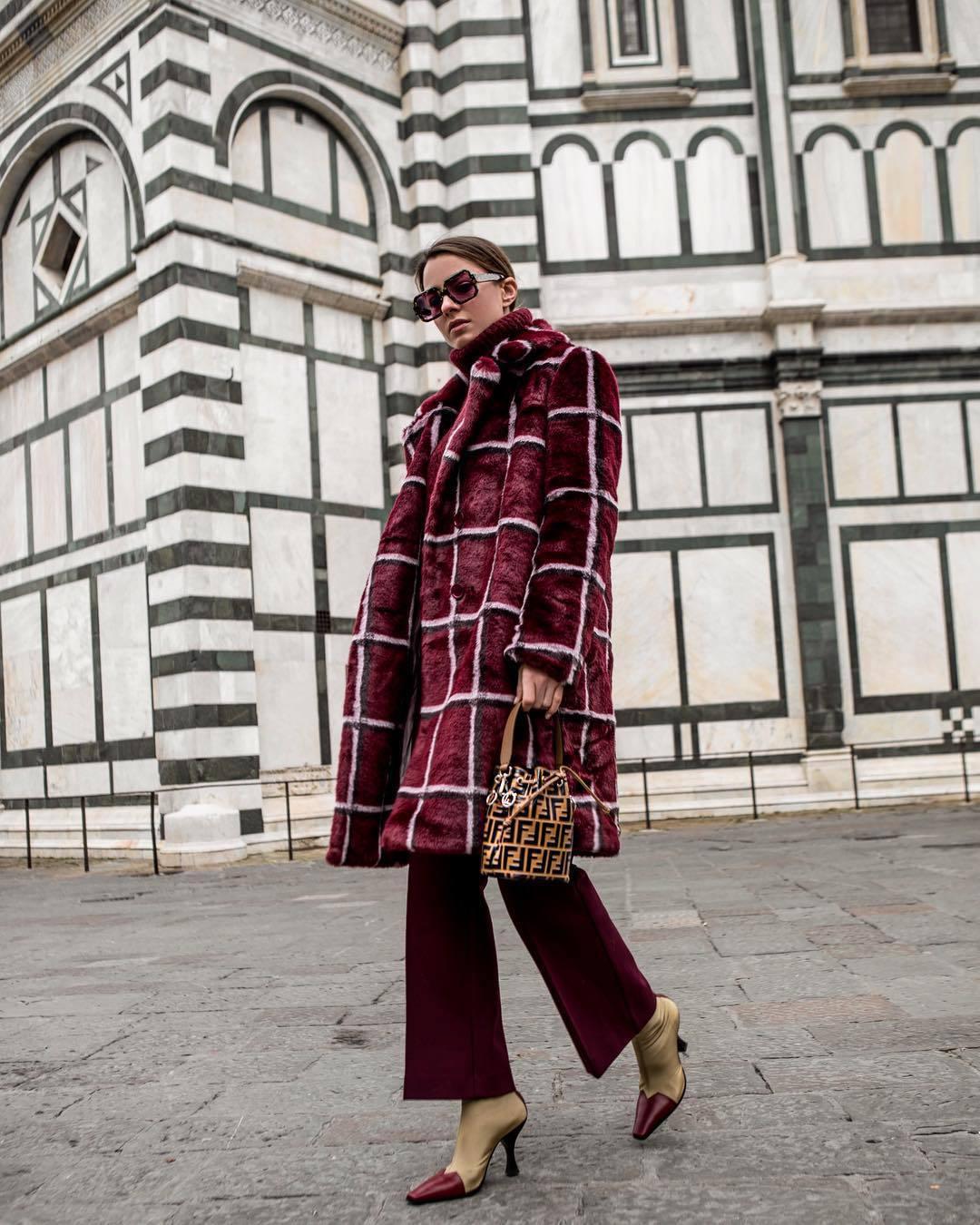 bag bucket bag heel boots flare pants red coat faux fur coat fendi handbag turtleneck sweater