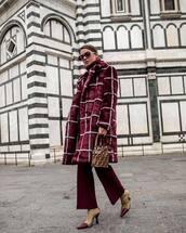 bag,bucket bag,heel boots,flare pants,red coat,faux fur coat,fendi,handbag,turtleneck sweater