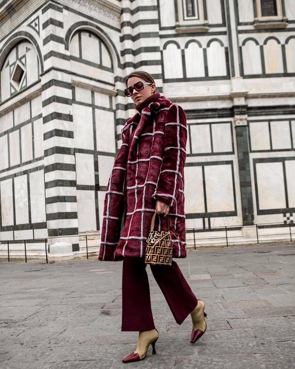 bag bucket bag heel boots flare pants red coat faux fur coat fendi handbag turtleneck sweater
