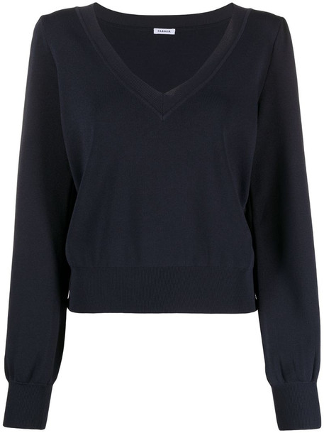 P.A.R.O.S.H. fine-knit v-neck jumper in blue
