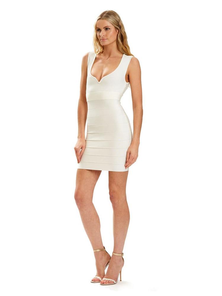 HERVÉ LÉGER Sweetheart Stretch Nylon Knit Mini Dress in beige