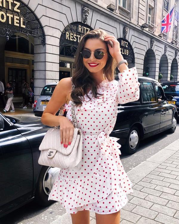 dress white dress one shoulder polka dots mini dress chanel bag