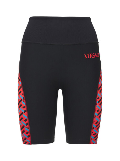 VERSACE Tech Jersey Logo Cyclist Shorts in black / multi
