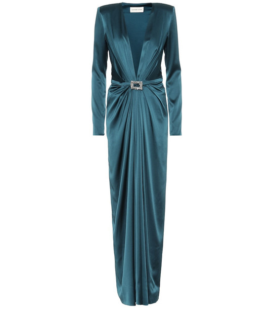 Alexandre Vauthier Embellished satin gown in blue