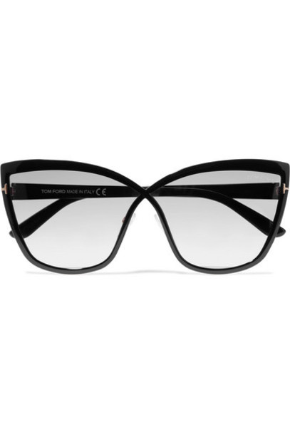 TOM FORD - Sandrine Cat-eye Acetate And Gold-tone Sunglasses - Black
