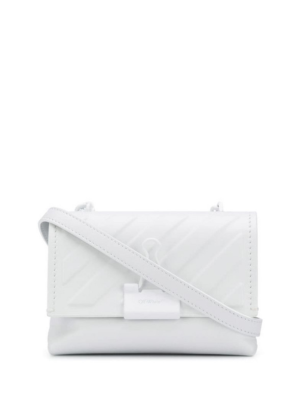 Off-White embossed diagonal-stripes clip crossbody bag in white