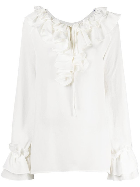 P.A.R.O.S.H. oversize ruffle blouse in neutrals