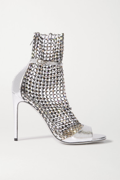 René Caovilla - Galaxia Crystal-embellished Mesh And Metallic Watersnake Sandals - Silver