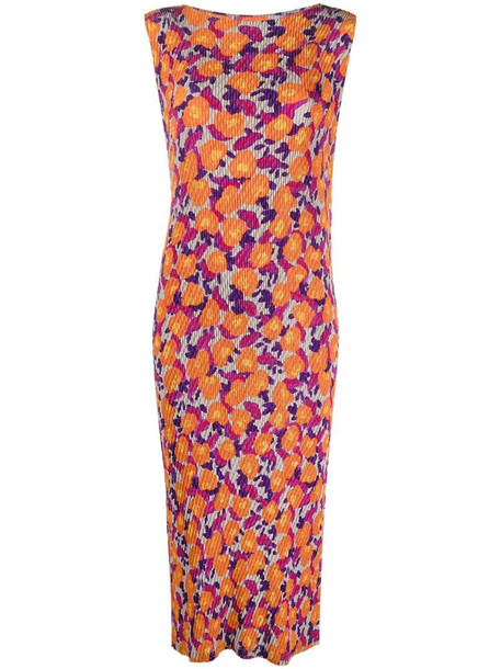 Issey Miyake sleeveless abstract-floral dress in orange