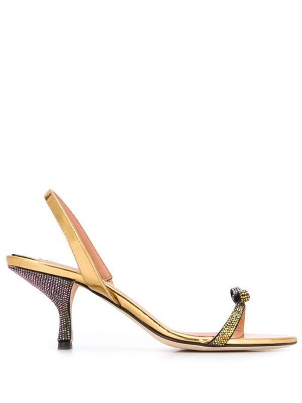 Marco De Vincenzo crystal bow 80mm sandals in gold
