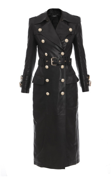 Balmain Belted Double-Breasted Calfskin Trench Coat in black