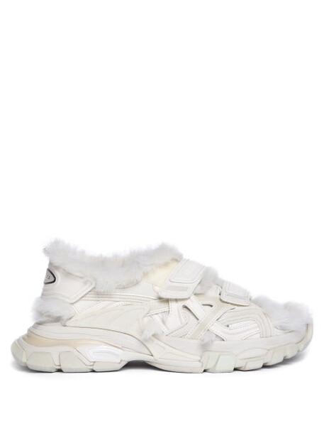Balenciaga - Logo-debossed Shearling-lined Sandals - Womens - Beige