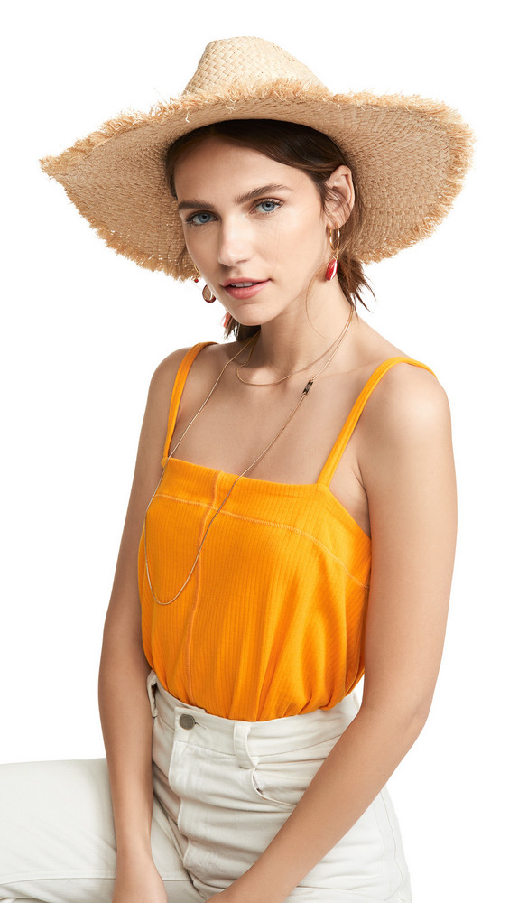 Hat Attack Drawstring Frayed Rancher Hat in natural / pink