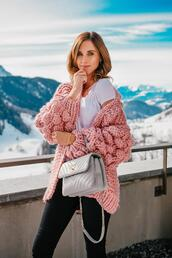 vogue haus,blogger,top,jeans,sweater,bag,shoes,chunky cardigan,spring outfits,chanel bag