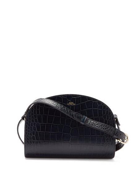 A.P.C. A.P.C. - Half Moon Crocodile-effect Leather Cross-body Bag - Womens - Navy