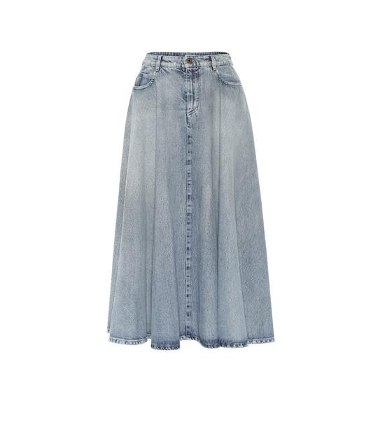 Miu Miu Denim midi skirt in blue