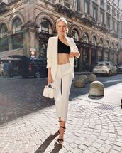 pants,white pants,high waisted pants,skinny pants,black sandals,white blazer,white bag,crop tops