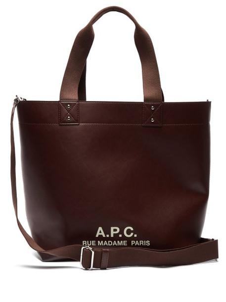 A.P.C. A.p.c. - Eddy Logo Print Tote - Womens - Burgundy