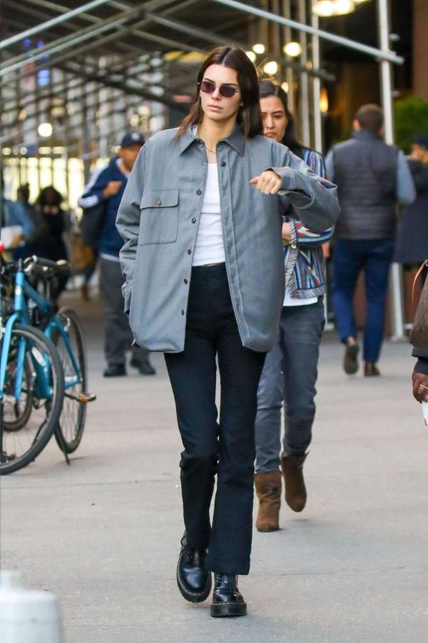 shoes DrMartens kendall jenner kardashians celebrity pants shirt streetstyle casual