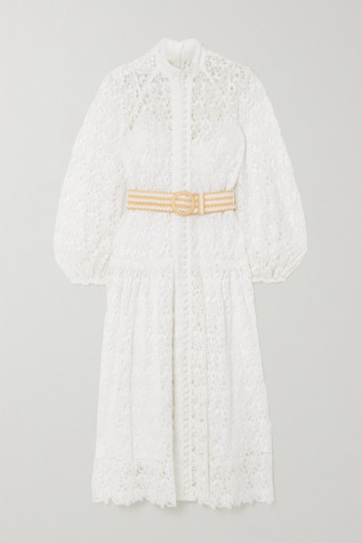 Zimmermann - Belted Button-detailed Guipure Lace Midi Dress - Ivory