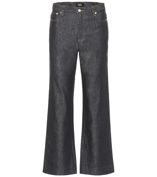 A.P.C. Sailor cropped high-rise straight jeans in blue