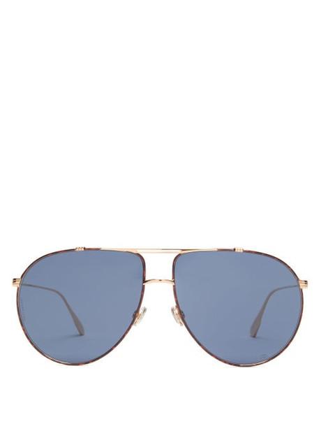 Dior Eyewear - Diormonsieur1 Aviator Metal Sunglasses - Womens - Gold