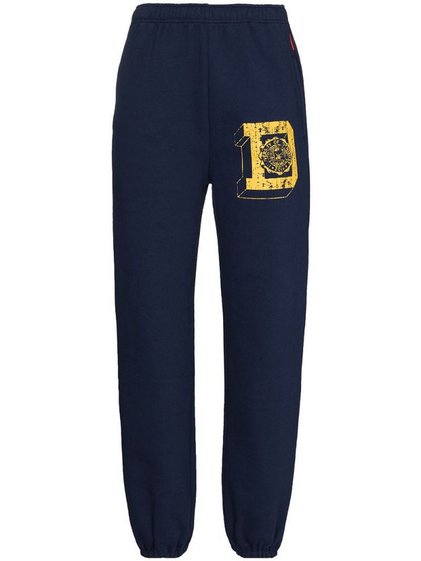 Denimist logo print track pants in blue