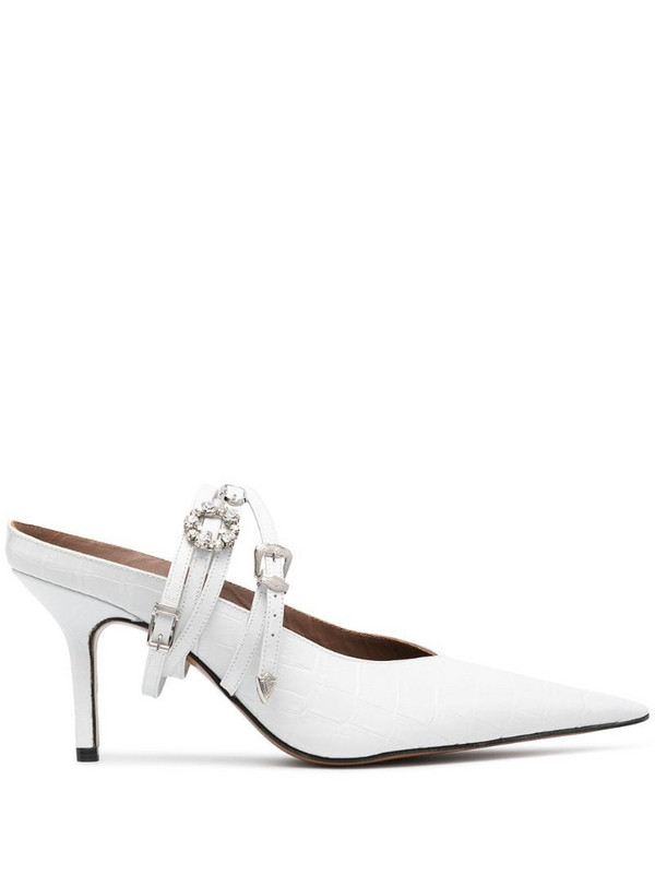 Abra Belt pointed toe mules in white
