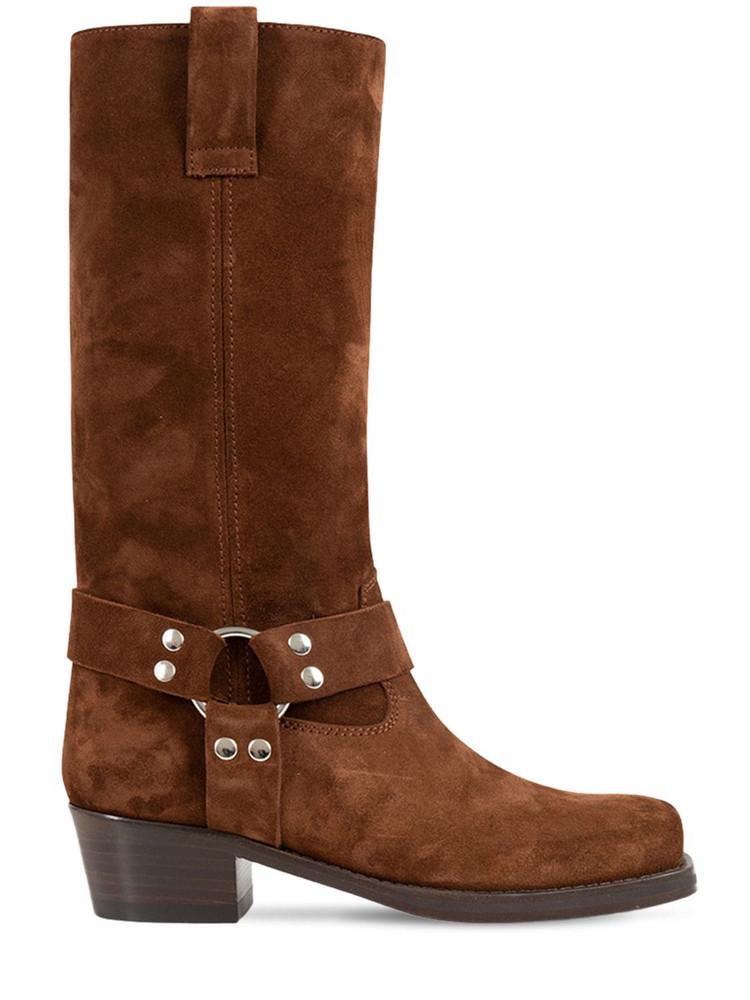 PARIS TEXAS 45mm Roxy Suede Western Boots in tan