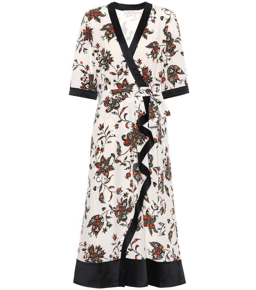 Tory Burch Floral silk midi wrap dress in white