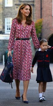 dress,floral,floral dress,kate middleton,celebrity,midi dress