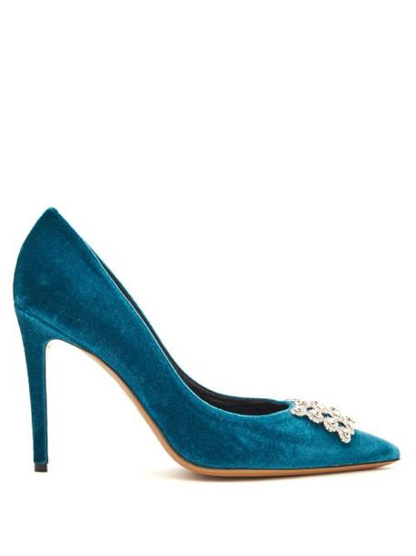 Alexandre Vauthier - Othilia Crystal Embellished Velvet Pumps - Womens - Blue