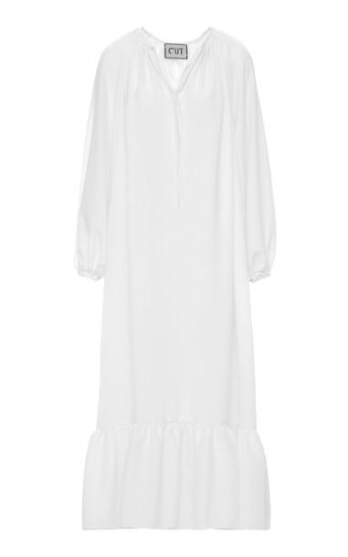 Studio Cut Crepe De Chine Dress Size: S/M in white