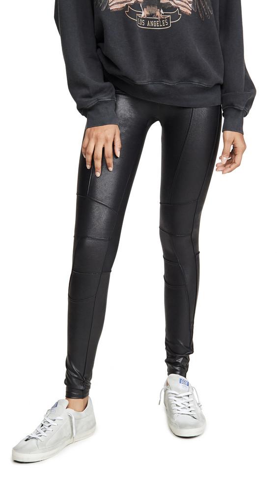 SPANX Zip Detail Faux Leather Leggings in black