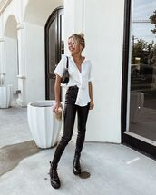 top,white shirt,short sleeve,pants,leather pants,boots,biker boots