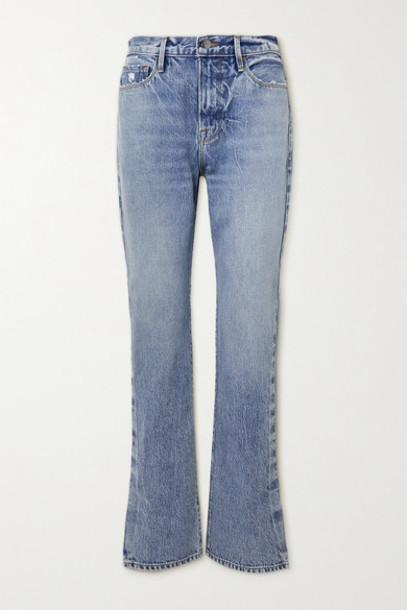 FRAME - Le Drew High-rise Straight-leg Jeans - Mid denim