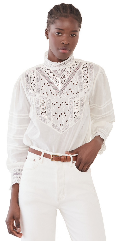 Nili Lotan Evie Embroidered Top in ivory