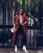 coat,brown coat,long coat,white boots,ankle boots,mid heel boots,black skinny jeans,cropped jeans,high waisted jeans,white bag,v neck,sweater
