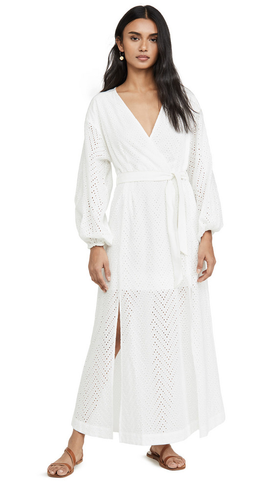 Suboo Goldie Wrap Tie Maxi Dress in ivory