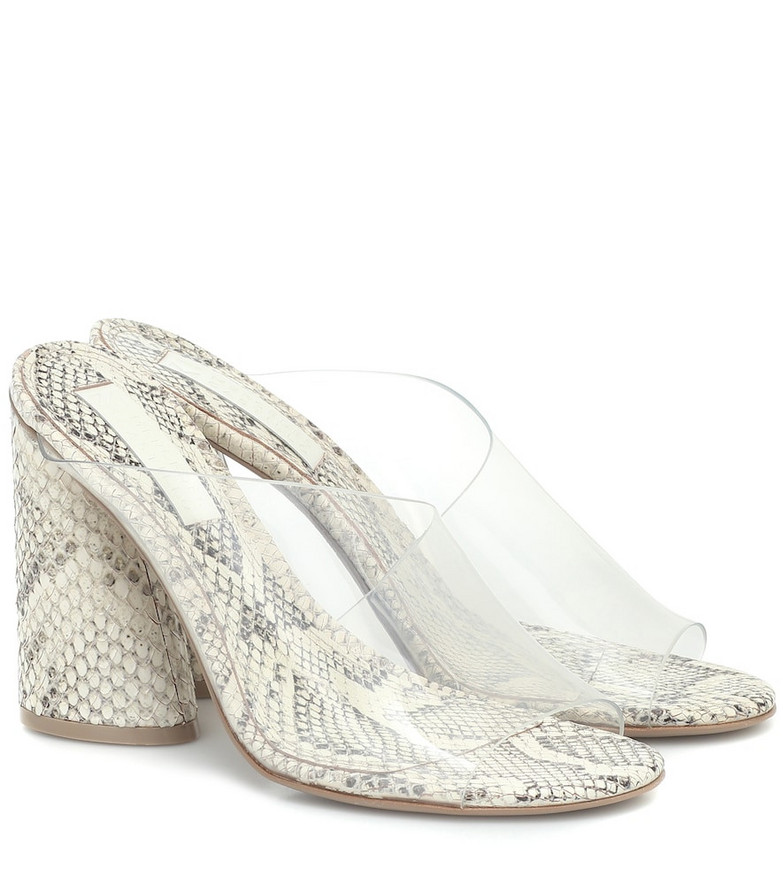 Mercedes Castillo Kuri snake-effect leather sandals in white