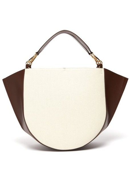 Wandler - Mia Large Canvas And Leather Tote Bag - Womens - Brown White