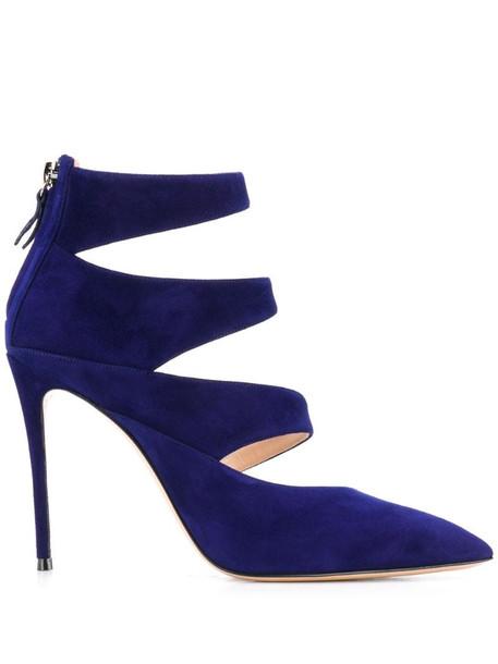 Casadei Asymmetric 110 peek-a-boo pumps in blue