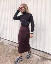 skirt,midi skirt,bodycon skirt,sneakers,cropped turtleneck,crossbody bag